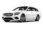 Stock pictures of low aggressive front three quarter view of a 2020 Mercedes Benz E-Class  E450 5 Door Wagon