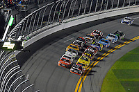 12-13 February, 2016, Daytona Beach, Florida, USA<br /> Teammates Denny Hamlin, FedEx Express Toyota Camry and Carl Edwards, Arris Toyota Camry lead the field.<br /> ©2016, F. Peirce Williams