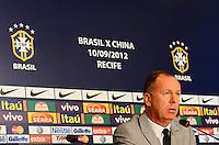 RIO DE JANEIRO, RJ, 23 AGOSTO 2012 - CONVOCACAO DA SELECAO BRASILEIRA DE FUTEBOL- O Tecnico Mano Menezes convoca a Selecao Brasileira de Futebol para os Amistosos contra a Africa do Sul em Sap Paulo e contra a China em Recife, no Hotel Sheraton, no Leblon, na zona sul do Rio de Janeiro.(FOTO:MARCELO FONSECA / BRAZIL PHOTO PRESS).
