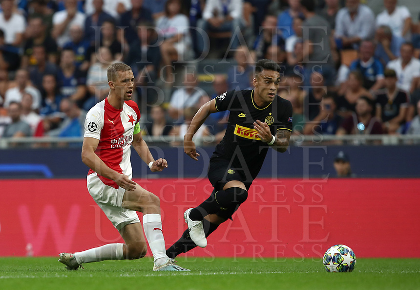 Football Soccer: UEFA Champions League -Group Stage- Group F Internazionale Milano vs  SK Slavia Praha, Giuseppe Meazza stadium, September 17, 2019.<br /> Inter's Lautaro Martinez (r) in action with Slavia Praha's captain Tomas Soucek (l) during the Uefa Champions League football match between Internazionale Milano and Slavia Praha at Giuseppe Meazza (San Siro) stadium, September 17, 2019.<br /> UPDATE IMAGES PRESS/Isabella Bonotto