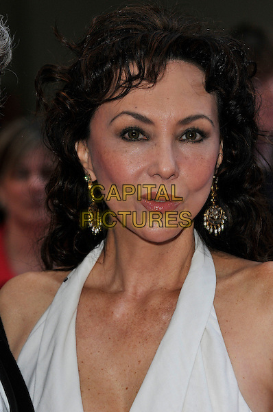 MARIE HELVIN.The Galaxy British Book Awards held at the Grosvenor Hotel, Park Lane, London, England. .April 9th 2008 .headshot portrait white halterneck top earrings.CAP/PL.©Phil Loftus/Capital Pictures.