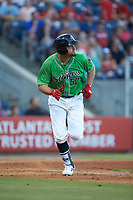 Lucas Duda (52) of the Gwinnett Stripers hustles down the first base line against the Scranton/Wilkes-Barre RailRiders at BB&T BallPark on August 16, 2019 in Lawrenceville, Georgia. The Stripers defeated the RailRiders 5-2. (Brian Westerholt/Four Seam Images)