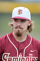 Florida State Seminoles pitcher Gage Smith (19) before a game against the South Florida Bulls on March 5, 2014 at Red McEwen Field in Tampa, Florida.  Florida State defeated South Florida 4-1.  (Mike Janes/Four Seam Images)