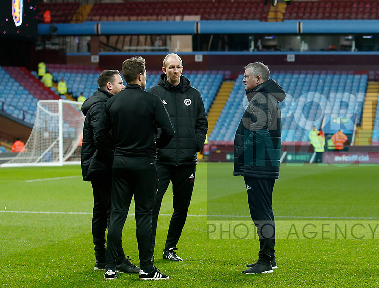 Mike Allen, Nick Travis, Alan Knill and Chris Wilder manager of Sheffield Utd during the Championship match at Villa Park Stadium, Birmingham. Picture date 23rd December 2017. Picture credit should read: Simon Bellis/Sportimage