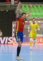 MEDELLIN - COLOMBIA- 21-09-2016: Lozano (Der) jugador de España celebra después de anotar un gol a Kazajistán durante partido de octavos de final de la Copa Mundial de Futsal de la FIFA Colombia 2016 jugado en el Coliseo Ivan de Bedout en Medellín, Colombia. /  Lozano (R) player of Spain celebrates after scoring a goal to Kazakhstan during match of the knockout stages of the FIFA Futsal World Cup Colombia 2016 played at Ivan de Bedout coliseum in Medellin, Colombia. Photo: VizzorImage / Leon Monsalve /
