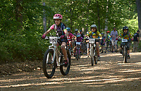 NWA Democrat-Gazette/BEN GOFF @NWABENGOFF<br /> Shelbi Fields, 9, from Olive Branch, Miss. takes the lead at the start of the junior women age 1-10 race, which she won, Sunday, June 11, 2017, during the Battle for Townsend's Ridge mountain bike race at Hobbs State Park - Conservation Area near Rogers. The cross country race, presented by Ozark Off Road Cyclists, is part of the Arkansas Mountain Bike Championship Series. This year entry fees for racers 14 and younger were covered by Ozark Off Road Cyclists.