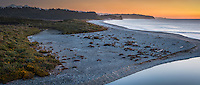 Pastel colours of twilight over Three Mile beach, Westland National Park, West Coast, World Heritage Area, South Westland, New Zealand