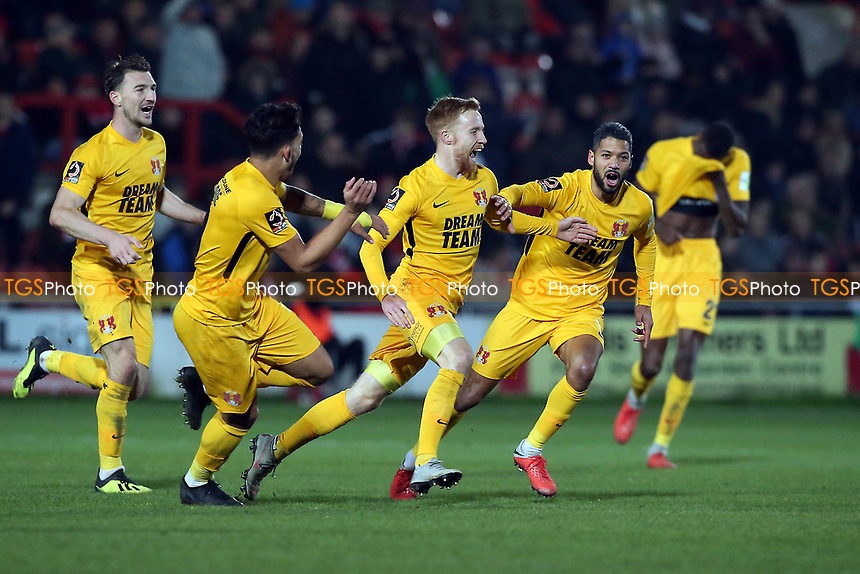 O's 2nd goalscorer James Brophy celebrates scoring O's 2nd goal during Wrexham vs Leyton Orient, Vanarama National League Football at the Racecourse Ground on 24th November 2018