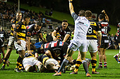 Referee Angus Mabey awards a try to Dan Hyatt. Mitre 10 Cup rugby game between Counties Manukau Steelers and Taranaki Bulls, played at Navigation Homes Stadium, Pukekohe on Saturday August 10th 2019. Taranaki won the game 34 - 29 after leading 29 - 19 at halftime.<br /> Photo by Richard Spranger.