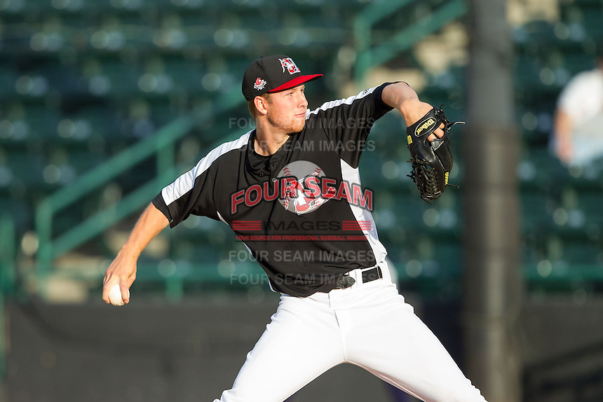 Hickory Crawdads starting pitcher Cole Wiper (16) in action against the Charleston RiverDogs at L.P. Frans Stadium on June 2, 2014 in Hickory, North Carolina.  The Crawdads defeated the RiverDogs 9-6.  (Brian Westerholt/Four Seam Images)
