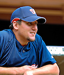 5 August 2007: Washington Nationals pitcher Joel Hanrahan sits in the dugout prior to a game against the St. Louis Cardinals at RFK Stadium in Washington, DC. The Nationals defeated the Cardinals 6-3 to sweep their 3-game series...Mandatory Photo Credit: Ed Wolfstein Photo