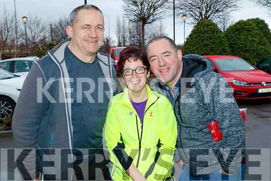 John Collins, Marie O'Regan and Andrew O'Regan, Abbeyfeale, who took part in the Optimal Fitness 10 miler and 5k road race, at The Rose Hotel, Tralee, on Sunday morning last.