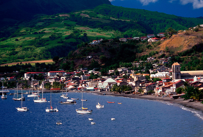 Saint Pierre Bay and town of Saint Pierre, Martinique, French West Indies