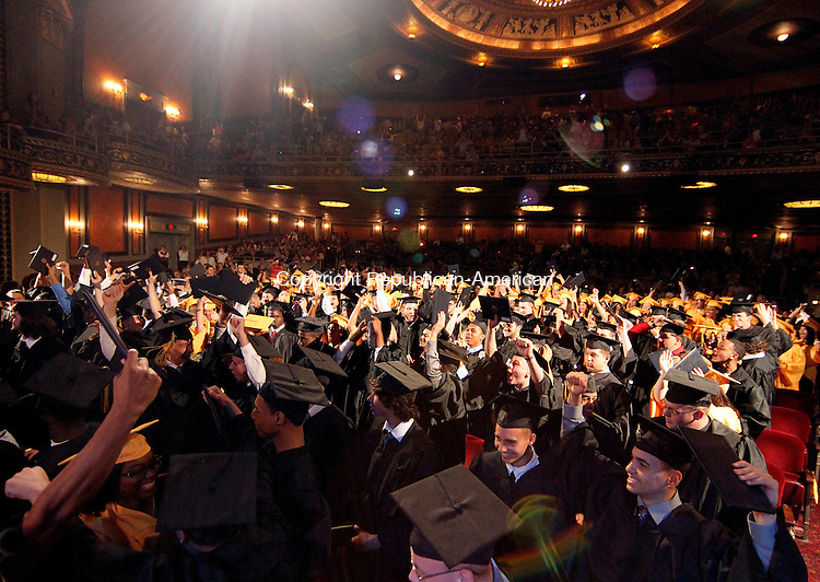 Waterbury, CT-16, June 2010-061610CM08 Kaynor Tech graduates celebrate following commencement procedures at the Palace Theater in downtown Waterbury Wednesday night. --Christopher Massa Republican-American