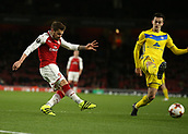 7th December 2017, Emirates Stadium, London, England; UEFA Europa League football, Arsenal versus BATE Borisov; Mathieu Debuchy of Arsenal shoots to score his sides 1t goal in the 1st half to make it 1-0
