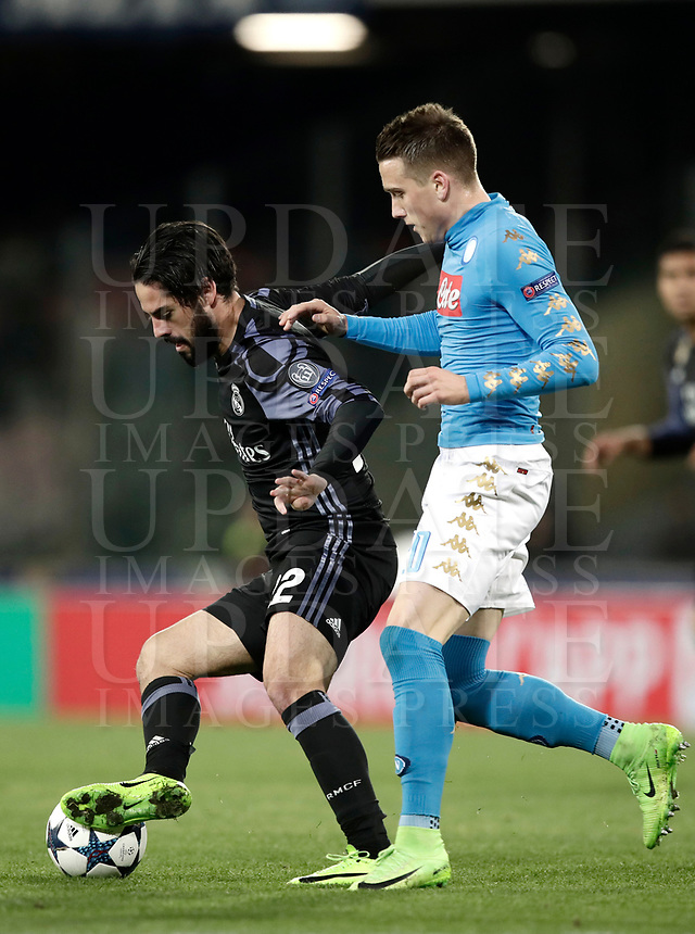 Football Soccer: UEFA Champions League Round of 16 second leg, Napoli-Real Madrid, San Paolo stadium, Naples, Italy, March 7, 2017. <br /> Real Madrid' Isco (l) in action with Napoli's Piotr Zielinski (r) during the Champions League football soccer match between Napoli and Real Madrid at the San Paolo stadium, 7 March 2017. <br /> Real Madrid won 3-1 to reach the quarter-finals.<br /> UPDATE IMAGES PRESS/Isabella Bonotto