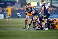 25th January 2020; Sixways Stadium, Worcester, Worcestershire, England; Premiership Rugby, Worcester Warriors versus Wasps; Cornell du Preez of Worcester Warriors passes the ball back under his own posts