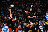 All Blacks locks Brodie Retallick and Luke Romano go up for lineout ball during the Rugby Championship match between the NZ All Blacks and Argentina Pumas at Yarrow Stadium in New Plymouth, New Zealand on Saturday, 9 September 2017. Photo: Dave Lintott / lintottphoto.co.nz