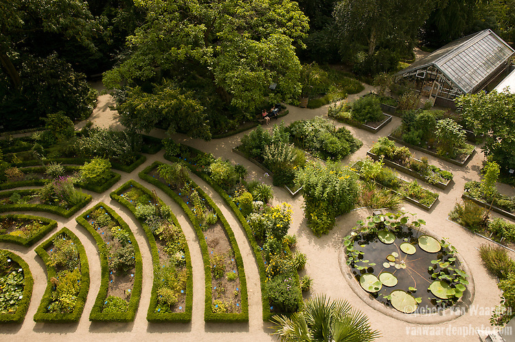 The Botanical Gardens of Amsterdam seen from above.