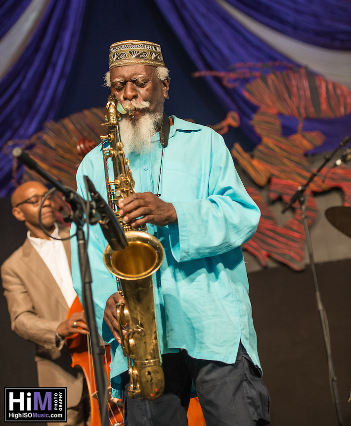 Pharoah Sanders performs at the 2014 Jazz and Heritage Festival in New Orleans, LA.