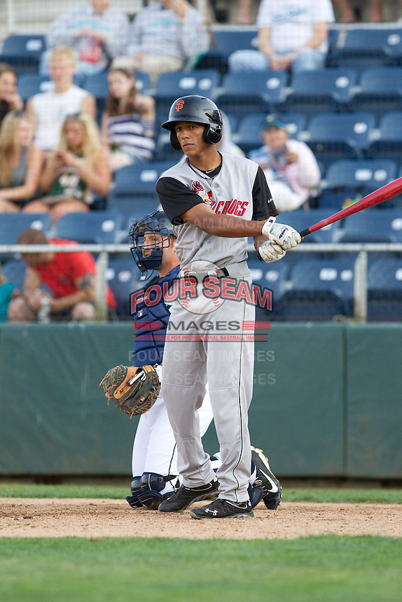 Johneshwy Fargas #1 of the Salem-Keizer Volcanoes at bat during a game against the Everett AquaSox at Everett Memorial Stadium in Everett, Washington on July 14, 2014.  Salem-Keizer defeated Everett 6-4.  (Ronnie Allen/Four Seam Images)