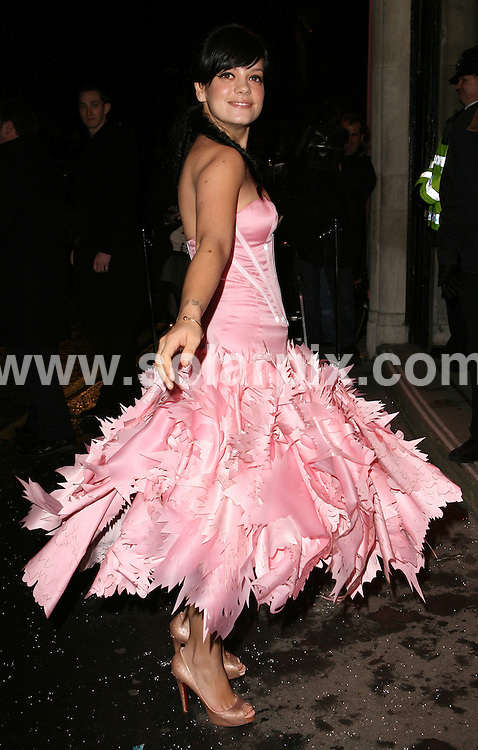 **ALL ROUND PICTURES FROM SOLARPIX.COM**.**WORLDWIDE SYNDICATION RIGHTS**.Guests attend the British Fashion Awards at.Lawrence Hall, Royal Horticultural Halls, 80 Vincent Square, London, SW1. 27th November 2007..This pic: Lily Allen..JOB REF: 5414 SSD     DATE: 27_11_2007.**MUST CREDIT SOLARPIX.COM OR DOUBLE FEE WILL BE CHARGED* *UNDER NO CIRCUMSTANCES IS THIS IMAGE TO BE REPRODUCED FOR ANY ONLINE EDITION WITHOUT PRIOR PERMISSION*