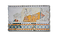 Minoan wall art freco depicting a procession leading a goat from Agia Triada (Hagia Triada) Crete. 1450-1300 BC. Heraklion Archaeological Museum.  White Background. <br /> <br /> This minoan fresco found at the minoan settlement of Hagia Triada, depicts a sacrifical procession leading animals to be sacrificed.