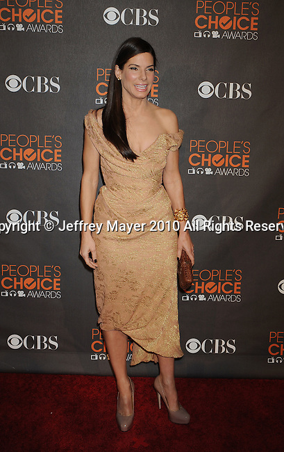 LOS ANGELES, CA. - January 06: Sandra Bullock arrives at the People's Choice Awards 2010 held at Nokia Theatre L.A. Live on January 6, 2010 in Los Angeles, California.