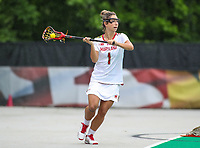 College Park, MD - May 19, 2018: Maryland Terrapins Brindi Griffin (1) passes the ball during the quarterfinal game between Navy and Maryland at  Field Hockey and Lacrosse Complex in College Park, MD.  (Photo by Elliott Brown/Media Images International)