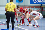 Mannheim, Germany, December 01: During the Bundesliga indoor women hockey match between Mannheimer HC and Nuernberger HTC on December 1, 2019 at Irma-Roechling-Halle in Mannheim, Germany. Final score 7-1. (Copyright Dirk Markgraf / 265-images.com) *** Antonia Hendrix #8 of Mannheimer HC