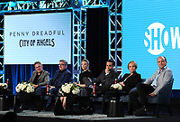 "PASADENA, CA - JANUARY 13: Creator/Executive Producer John Logan and cast members Nathan Lane, Natalie Dormer, Daniel Zovatto, Adriana Barraza, and Rory Kinear attend the panel for ""Penny Dreadful: City of Angels"" during the Showtime presentation at the 2020 TCA Winter Press Tour at the Langham Huntington on January 13, 2020 in Pasadena, California. (Photo by Frank Micelotta/PictureGroup)"