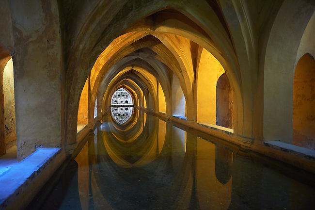The Baths of Dona Maria de Padill, part of the original Almohad garden that is now below the Alcazar, Alcazar of Seville, Spain.