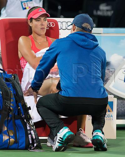 18.02.2016. Dubai, United Arab Emirates.  Trainer Nigel Sears watches as  Ana Ivanovic (SRB)  loses in 2 sets to Barbora Strycova (CZE) at the Dubai Tennis Championships 2016 WTA