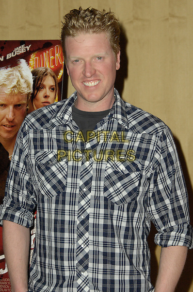 "JAKE BUSEY.Arrivals to the Los Angeles premiere screening of ""The Killing Jar"", at Clarity Theatre, Beverly Hills, CA, USA, .March 17th, 2010..half length blue black and white plaid checked check shirt smiling  .CAP/CEL/RL .©Rich Linton/CelPh/Capital Pictures"