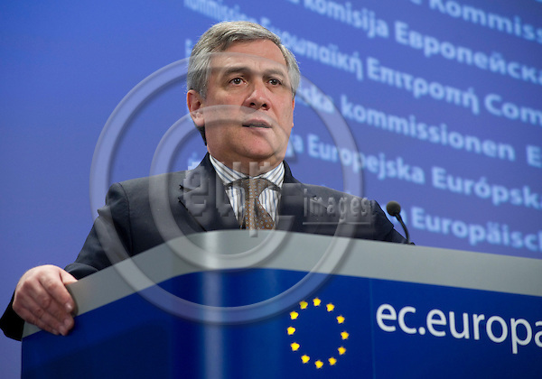 Brussels-Belgium - March 17, 2010 -- Antonio TAJANI, one of the Vice-Presidents of the European Commission, from Italy, and in charge of Industry and Entrepreneurship, during a press conference in the HQ of the EC -- Photo: Horst Wagner / eup-images