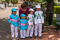"""ARCADIA, CA  JUNE 23: Some very sjmall Zenyatta and WinStar farm fans on """"Justify Day"""" on June 23, 2018 at Santa Anita Park in Arcadia, CA.  (Photo by Casey Phillips/Eclipse Sportswire/Getty Images)"""