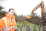 Padraig Corkery Communications relations officer of Kerry County Council at the rail line at Mounthawk which was being cleared on Friday.