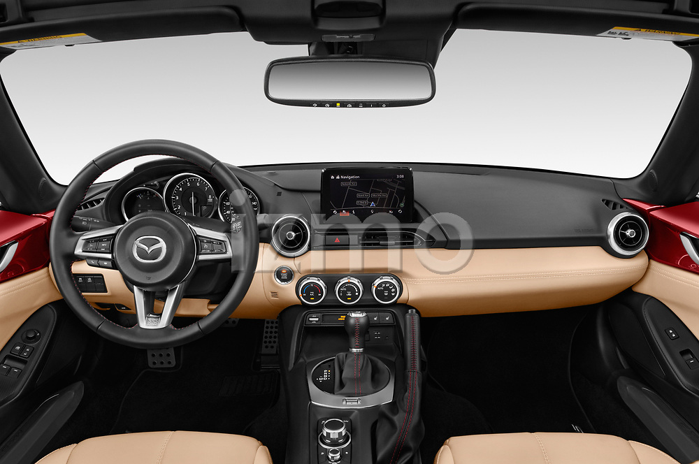 Stock photo of straight dashboard view of 2019 Mazda MX-5-Miata-RF Grand-Touring 2 Door Targa Dashboard