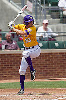 LSU Tigers second baseman JaCoby Jones (23) at bat against the Texas A&M Aggies in the NCAA Southeastern Conference baseball game on May 11, 2013 at Blue Bell Park in College Station, Texas. LSU defeated Texas A&M 2-1 in extra innings to capture the SEC West Championship. (Andrew Woolley/Four Seam Images).