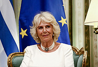 Pictured: The Duchess of Cornwall at the Presidential Mansion where she met President Prokopis Pavlopoulos in Athens, Greece. Wednesday 09 May 2018 <br /> Re: Official visit of HRH Prnce Charles and his wife the Duchess of Cornwall to Athens, Greece.