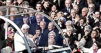 Papa Benedetto XVI tiene la sua ultima udienza generale del mercoledi' alla vigilia del suo ritiro dal Pontificato, in Piazza San Pietro, Citta' del Vaticano, 27 febbraio 2013. Davanti a lui, da sinistra, i politici Maurizio Lupi, Rosi Bindi e Pierferdinando Casini..Pope Benedict XVI, attends his last general Wednesday audience on the eve of his retirement from the Papacy, in St. Peter's square at the Vatican, 27 February 2013..UPDATE IMAGES PRESS/Isabella Bonotto -STRICTLY FOR EDITORIAL USE ONLY-