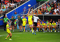 Action from the pool match between Fiji and Australia on day one of the 2018 HSBC World Sevens Series Hamilton at FMG Stadium in Hamilton, New Zealand on Saturday, 3 February 2018. Photo: Dave Lintott / lintottphoto.co.nz
