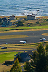 Airplane, runway, houses, and ocean at Shelter Cove, on the Lost Coast, Humboldt County, California