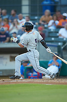 Tyler Frost (5) of the Winston-Salem Dash follows through on his swing against the Myrtle Beach Pelicans at TicketReturn.com Field on May 16, 2019 in Myrtle Beach, South Carolina. The Dash defeated the Pelicans 6-0. (Brian Westerholt/Four Seam Images)
