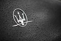 The trident shaped logo of Maserati.