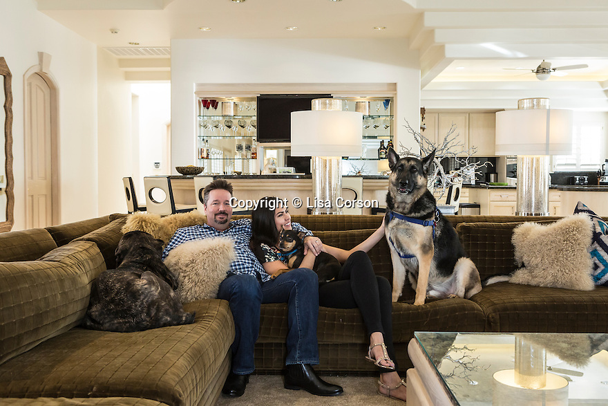 Terry Fator's Las Vegas, Nev. home, Jan. 20, 2014. Fator and his wife, Taylor Makakoa, with their dogs Koali'i, Ziggy, and Rebel. Images are available for editorial licensing, either directly or through Gallery Stock. Some images are available for commercial licensing. Please contact lisa@lisacorsonphotography.com for more information.