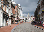 Historic buildings and street view towards the public library, Visstraat, Dordrecht, Netherlands