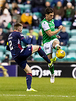 12th February 2020; Easter Road, Edinburgh, Scotland; Scottish Premiership Football, Hibernian versus Ross County; Joe Newell of Hibernian competes for possession of the ball with Marcus Fraser of Ross County