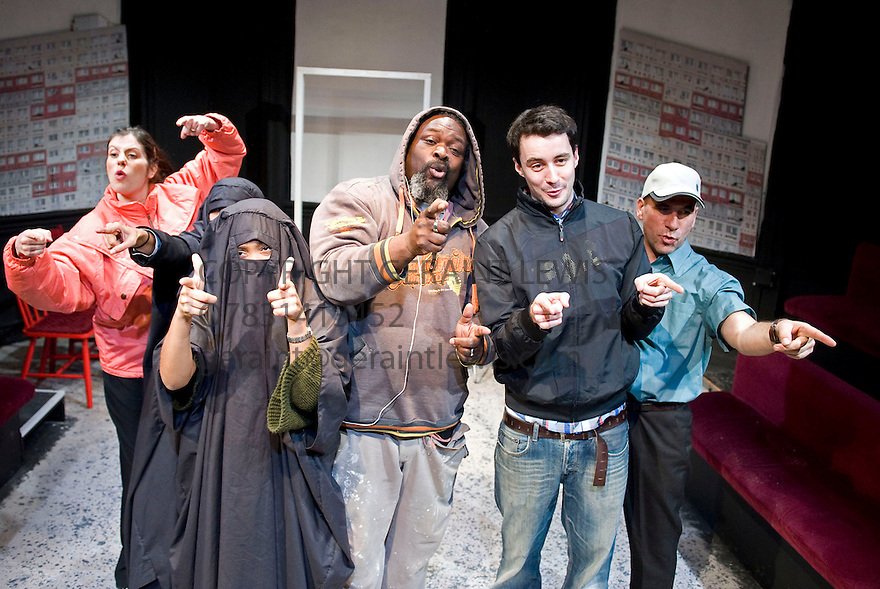 A Day at thye Racists by Anders Lustgarten,directed by Ryan McBryde.With Vanessa Havel as Polish Lady,Thusitha Jayasundera as Burka Woman,Zaraah Abrahams as Burka Woman,Trevor A Toussaint as African Guy,Sam Swainsbury as Mark,Gwilym Lloyd as Driver..Opens at The Finborough Theatre on 4/3/10 Credit Geraint Lewis