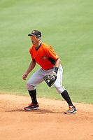 Frederick Keys second baseman Jerome Pena (32) on defense against the Winston-Salem Dash at BB&T Ballpark on July 30, 2014 in Winston-Salem, North Carolina.  The Dash defeated the Keys 12-2.   (Brian Westerholt/Four Seam Images)